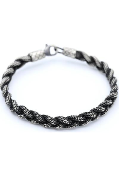 Akyüz Gümüş Örgülü Kazaziye Erkek Gümüş Bileklik 066