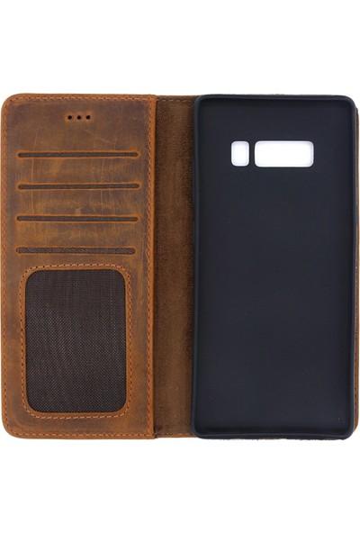 Weoze Samsung Galaxy Note 8 Kılıf Weoze Deri Kapaklı Cüzdan Kahverengi