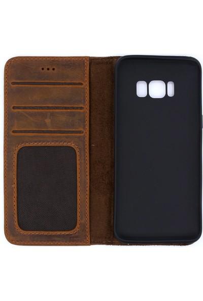 Weoze Samsung Galaxy S8 Kılıf Weoze Deri Kapaklı Cüzdan Kahverengi