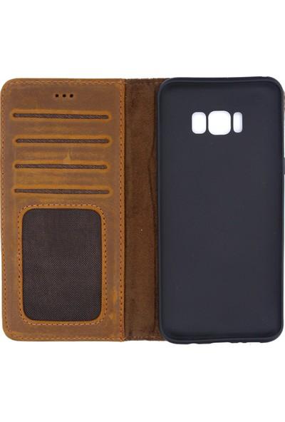 Weoze Samsung Galaxy S8 Plus Kılıf Weoze Deri Kapaklı Cüzdan Kahverengi