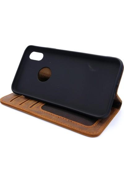 Weoze Apple iPhone X Kılıf Weoze Deri Kapaklı Cüzdan Kahverengi