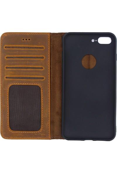 Weoze Apple iPhone 8 Plus Kılıf Weoze Deri Kapaklı Cüzdan Kahverengi