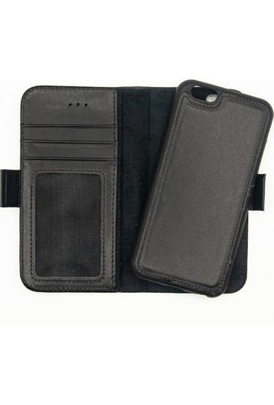 Weoze Apple iPhone 8 Kılıf 2in1 Kılıf Deri Cüzdan Kılıf Kapaklı Siyah