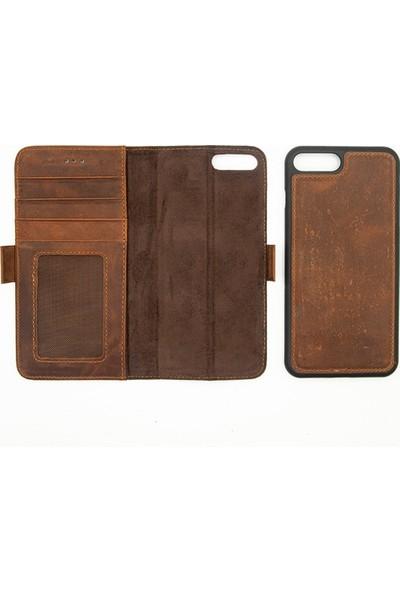 Weoze Apple iPhone 8 Plus Kılıf 2in1 Kılıf Deri Cüzdan Kılıf Kapaklı Kahverengi