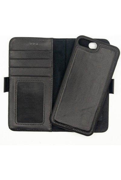 Weoze Apple iPhone 8 Plus Kılıf 2in1 Kılıf Deri Cüzdan Kılıf Kapaklı Siyah