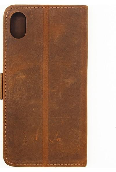 Weoze Apple iPhone X Kılıf 2in1 Kılıf Deri Cüzdan Kılıf Kapaklı Kahverengi