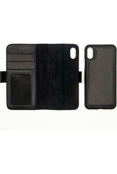Weoze Apple iPhone XR Kılıf 2in1 Kılıf Deri Cüzdan Kılıf Kapaklı Siyah