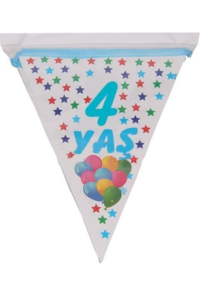 PartiniSeç 1 Adet 10 Bayraklı 4 Yaş Bayrak Flama Mavi Erkek 2. 2 Metre Doğum Günü