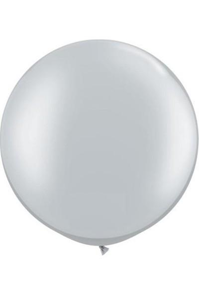 PartiniSeç 1 Adet 27 inç 68 cm Gümüş-Gri Jumbo Büyük Balon İnik