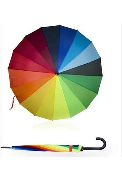 PartiniSeç 1 Adet Gökkuşağı Renkli Rengarenk Şemsiye, Büyük Boy 16 Telli