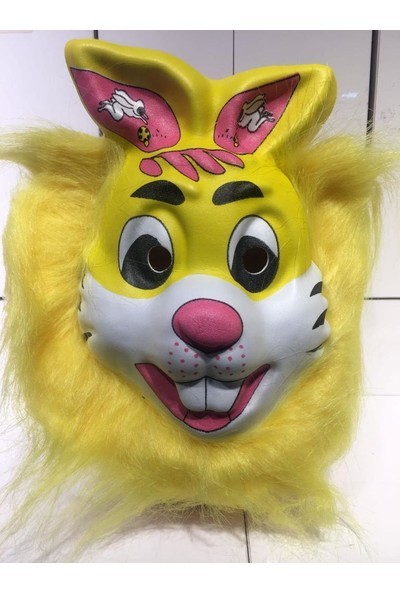 PartiniSeç 1 Adet Hayvan Desenli Maske, Tüylü Tavşan Şeklinde Parti Maskesi