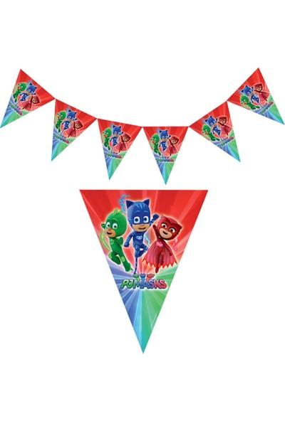 PartiniSeç 1 Adet Pijamaskeliler Flama, Pj Maskeliler Doğum Günü Bayrak Süs