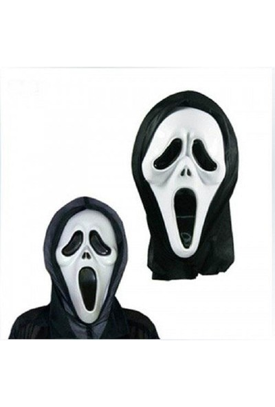 PartiniSeç 1 Adet Siyah Beyaz Çığlık Maskesi Korku Parti Aksesuarı