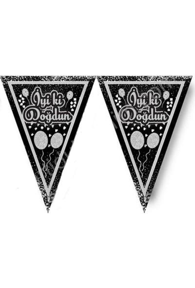 PartiniSeç 1 Adet Siyah Gümüş Gri İyi Doğdun Doğum Günü Parti Flaması