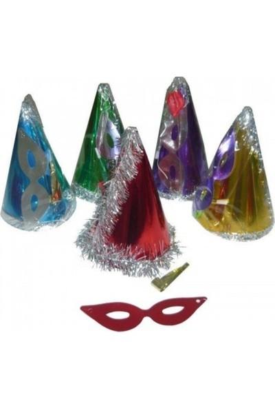 PartiniSeç 10 Adet Şapka + Maske + Düdük Set Doğum Günü, Parti, Yılbaşı vb.)