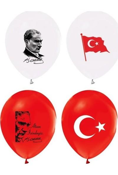 PartiniSeç 100 Ad Atatürk Baskılı Türk Bayraklı Balon,Resimli Atatürk Balonu