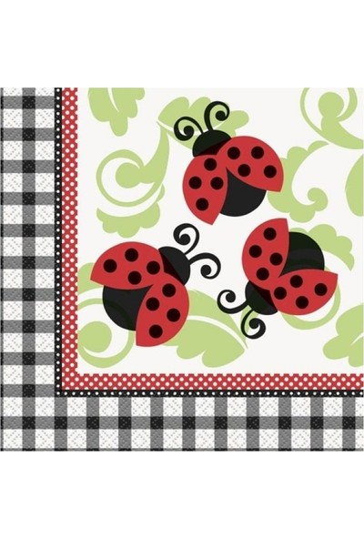PartiniSeç 16 Ad Uğur Böceği Peçete, Kırmızı Siyah Uğur Böcekli 33x33 Peçete