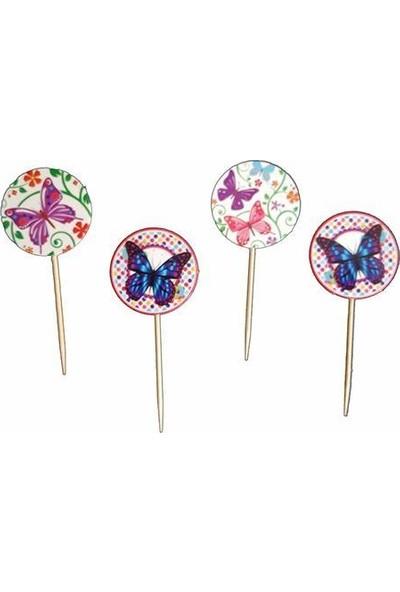 PartiniSeç 20 Adet Renkli Kelebekli Kürdan, Doğum Günü Cupcake Kek Sunumu