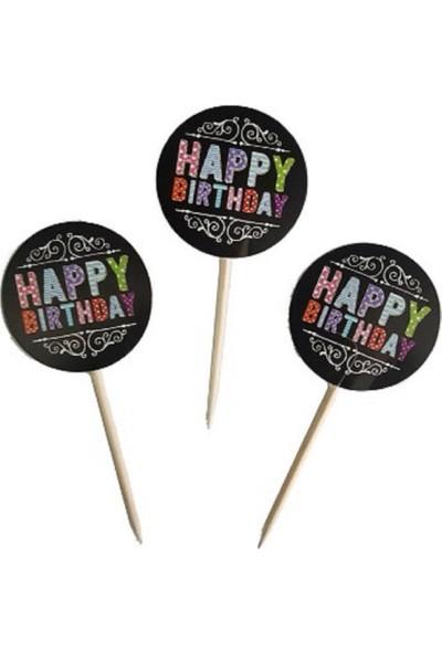 PartiniSeç 20 Siyah Happy Birthday Yazılı Cup Cake Kek Parti Sunum Kürdanı