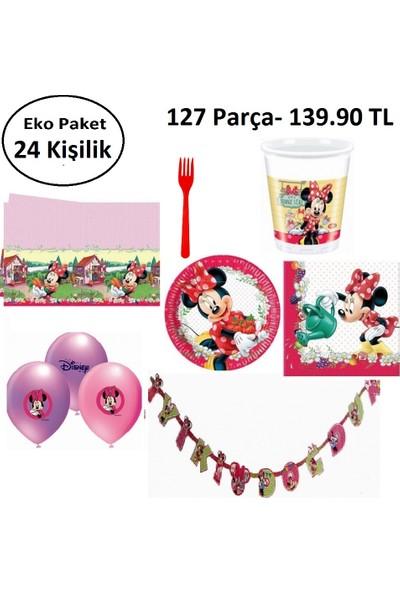 PartiniSeç 24 Kişilik Ekonomik Paket Minnie Mouse Doğum Günü Konsepti, Parti Seti