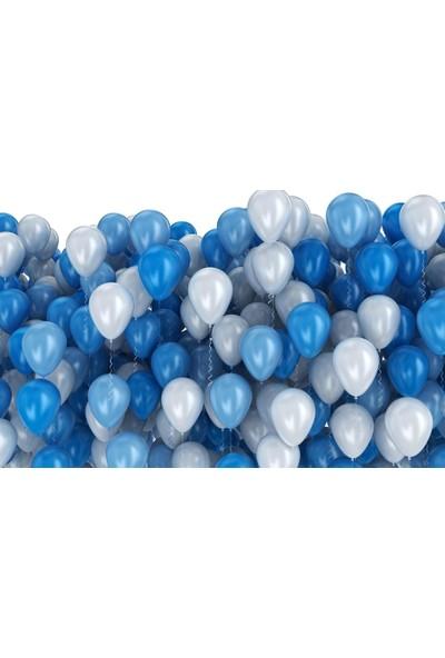 PartiniSeç 25 Adet Metalik Sedefli (Koyu Mavi-Beyaz) Karışık Balon Helyumla Uçan