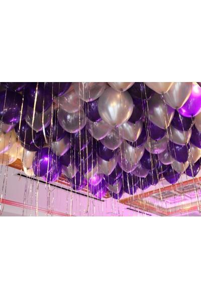 PartiniSeç 25 Adet Metalik Sedefli (Mor-Gri) Karışık Balon Helyumla Uçan