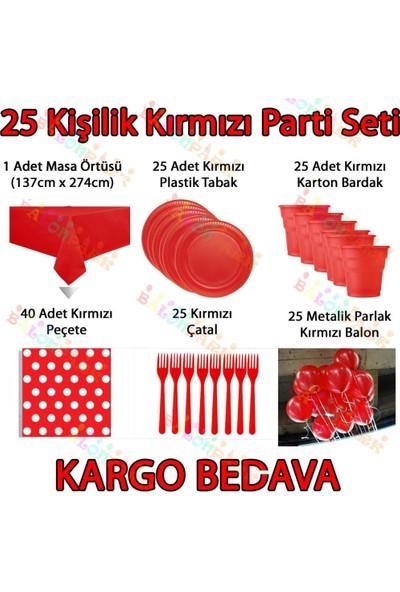 PartiniSeç 25 Kişilik Kırmızı Doğum Günü Parti Malzemeleri Konsept Seti Süs
