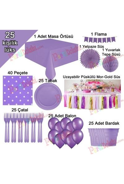 PartiniSeç 25 Kişilik Mor-Lila Doğum Günü Konsepti Parti Malzemeleri Paketi