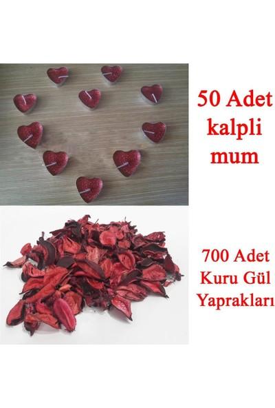 PartiniSeç 50 Mum + 700 Kuru Gül Yaprağı, Kalpli Mum ve Kuru Gül Yaprakları