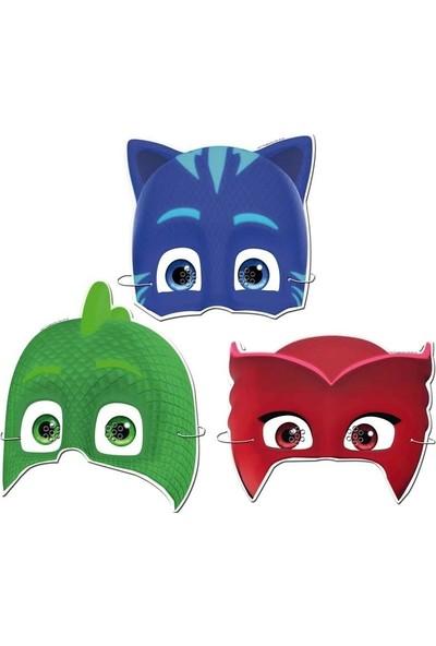 PartiniSeç 6 Adet Pijamaskeliler Karton Maske, Pj Masks Doğum Günü Maskesi