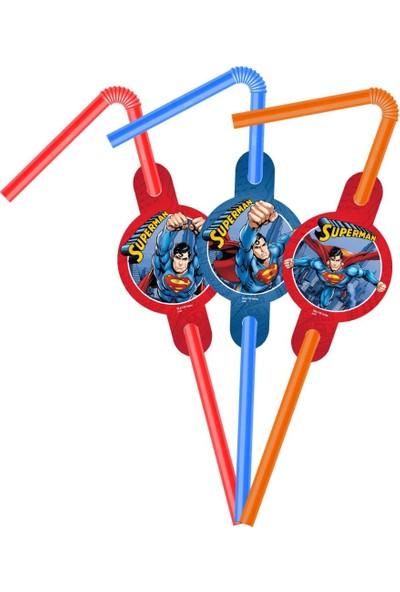 PartiniSeç 6 Adet Superman Plastik Pipet, Süpermen Doğum Günü Parti Pipeti