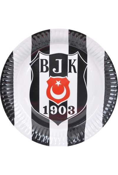 PartiniSeç 8 Adet Beşiktaş Tabak Doğum Günü Parti Tabağı 23cm Ucuz siyah beyaz