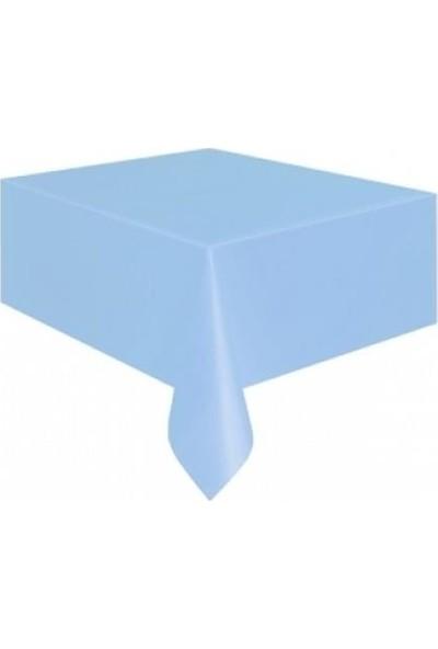PartiniSeç Açık Mavi Plastik Masa Örtüsü, Doğum Günü Partisi 120x180 Naylon