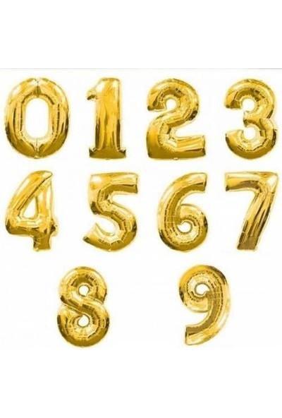 PartiniSeç Altın Sarısı Gold Rakam Balonu, 100 CM Helyumla Uçan