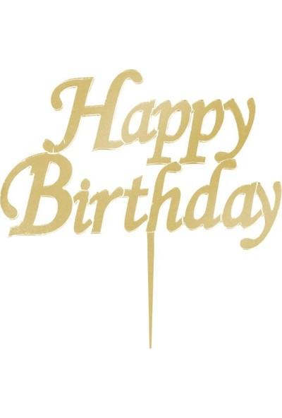 PartiniSeç Gold Altın Rengi Happy Birthday Yazılı Ayna Pleksi Pasta Üstü Süsü