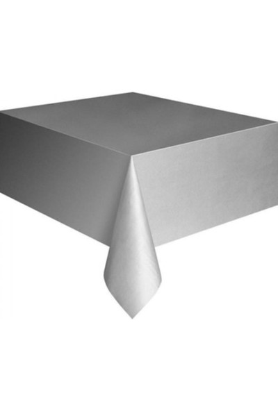 PartiniSeç Gümüş Gri Kullan At Plastik Masa Örtüsü, 120x180 cm Naylon