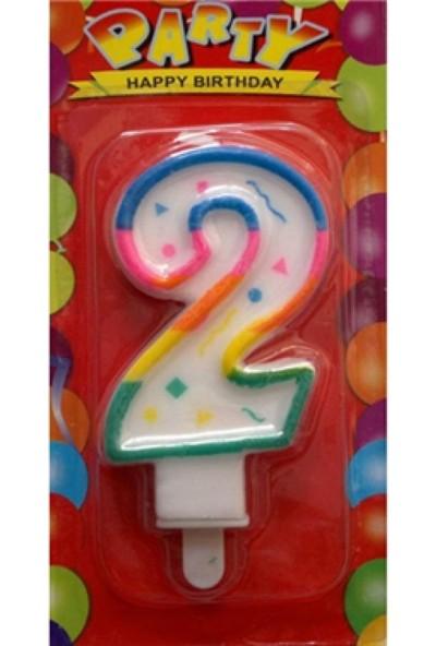PartiniSeç Renkli 2 Yaş Rakam Mum,Doğum Günü Partisi Pasta Malzemesi