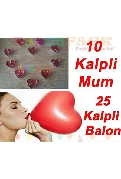 PartiniSeç Sevgililer Günü Aşk Paketi, Kalp Balon + 10 Kalpli Mum