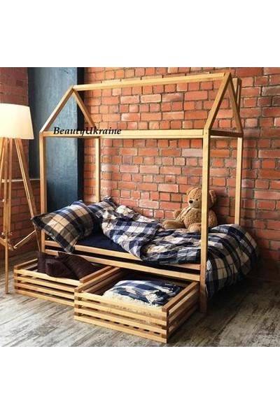 Markaawm Montessori Yatak Çocuk Yatak Çekmeceli 90X190 Doğal Çam Ağacından