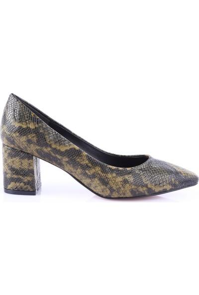 Dgn 005 Kadın Sivri Burun Parmak Dekolteli Topuklu Ayakkabı Haki Yılan