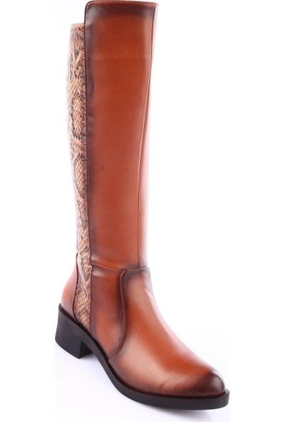 Dgn 226 Kadın Sivri Burun Knee High Topuklu Çizme Taba Yılan Taba