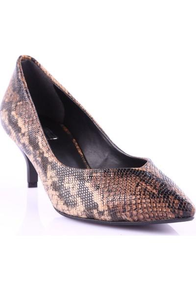 Dgn K613 Kadın Sivri Burun Parmak Dekolteli Kitten Heel Ayakkabı Vizon Yılan