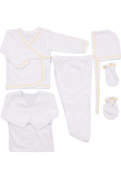 Özlem Bebe Düz 5'li İç Zıbın Seti Sarı