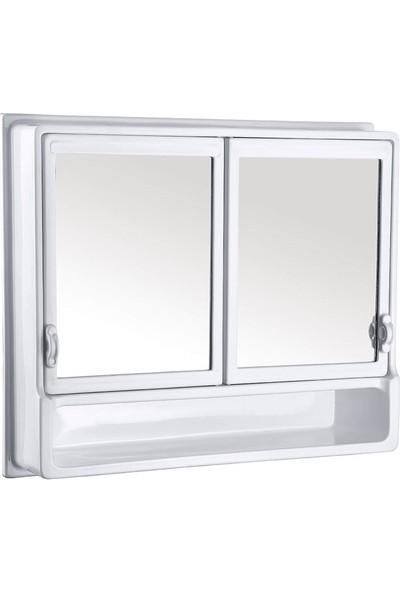 Çelik Ayna CLK145 2 Kapaklı Etejerli Banyo Dolabı