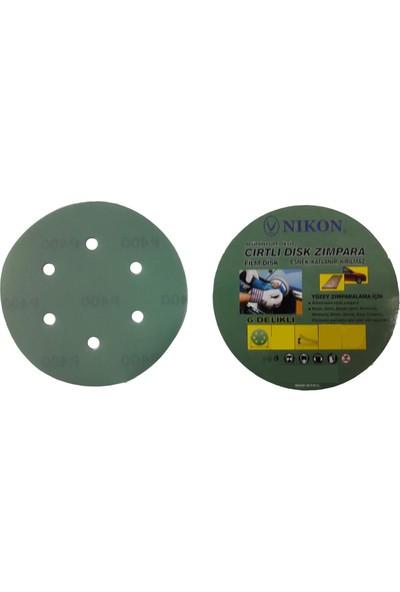 Nikon 52046 Kırılmaz Yeşil Cırt Zımpara 150X80 Kum 6 Delikli