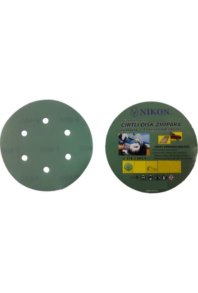 Nikon 52052 Kırılmaz Yeşil Cırt Zımpara 150X280 Kum 6 Delikli