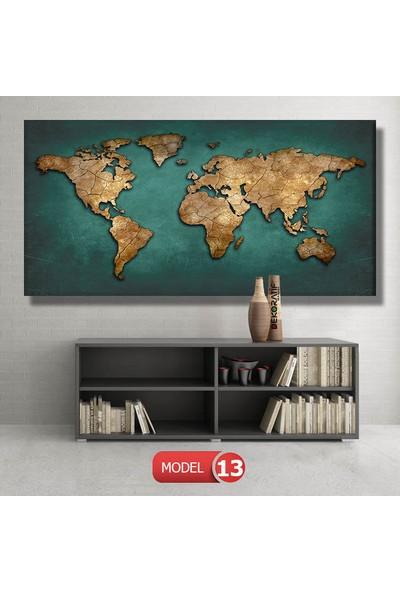 Dekoratifmarket Dünya Haritası Tablosu 120 x 60 cm