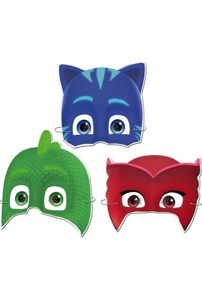 Partini Seç Pj Maskeliler Pija Maskeliler Karton Maske 6 Adet