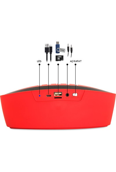 Mikado Md-2018Bt Kırmızı Bluetooth 5W Tf+Fm Destekli Speaker