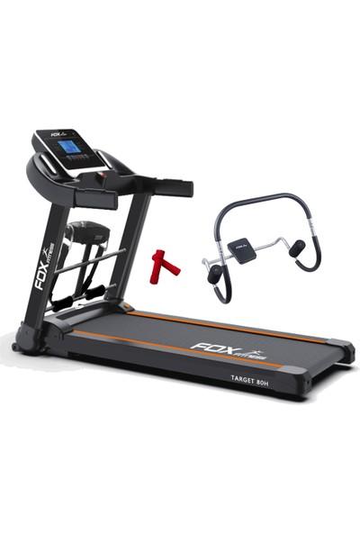 Fox Fitness Target 80H 2.60 Hp Motorlu Masajlı Koşu Bandı + 2 x 05 kg Neopren Dambıl + ABRoller Mekik Aleti Seti